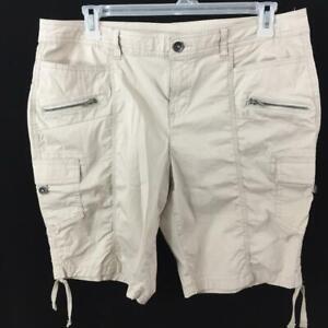 "Style & Co cargo shorts size 16P 6 pockets leg ties tan 9.5"" inseam"