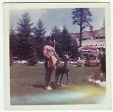 Snapshot Photo - Gay Semi Nude Man- Muscle Bare Chest Shorts Deer Statue ca 1960