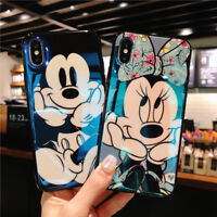 Glossy Mickey Minnie Mouse Case For iPhone Xs Max X 8 7 6 Blu Ray Cartoon Cover