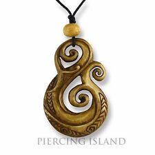 Maori Koru Amulett Anhänger Bone Knochen Handarbeit Design PB364