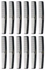 """Krest #415 Cleopatra Black 7"""" Ruler Back Round Finger Wave DOZEN / 12 combs NEW"""
