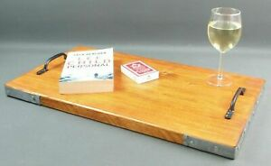 Wooden Serving Lap Tray, Solid Wood Handmade Chunky Board, Scaffolding Banding