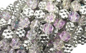 50 Silver Pink AB Czech Glass Flower Beads 8MM