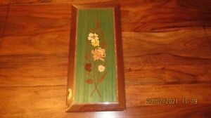 Italian Marquetry wall plaque wooden vintage plant illustration in gold green