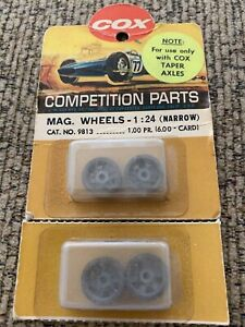 '60s Cox 1/24 Threaded Front Taper Magnesium Wheels for Ford GT, #9813 MOC