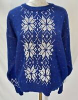 True Vintage Women's 90's Ski Sweater Rainbow Snowflakes and Hearts Sz Medium