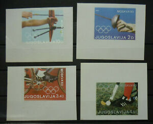 Yugoslavia 1980 Russia Moscow IMPERFORATED Stamps Olympic Games RR!! Sport B1