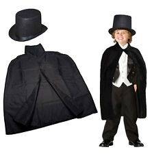 Dazzling Toys Children's Black Magician Cape & Hat Halloween Party Costume