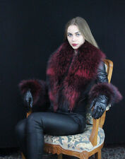 Dyed Silver Fox Fur Collar ~50 inch. Saga Furs Boa Stole Scarf, Cuffs As Tails