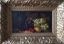 Old, antique Encore Vie Peinture à l'Huile de Fruits Mélangés. MONOGRAMME donc 1 de 2