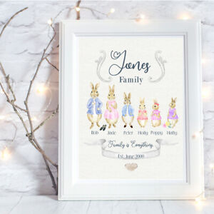 Personalised A4 Print,Peter Rabbit Family, Name, Gift, Wall Art-NO FRAME