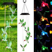 Solar Color Changing LED Hummingbird Wind Chimes Light Lamp Home Room Wall Decor