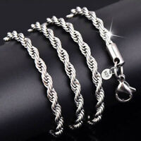 Silber Versilbert schmuck wrest Seil chainmen Frauen Halskette Mode schöne 2-4mm