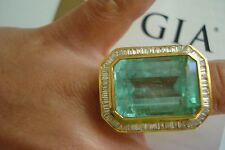Huge GIA certifie 18k gold diamond 28ct Colombian emerald halo ring~Free SZ~Ship