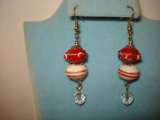 Glass Crystal Beaded  Christmas Dangle Earrings  new