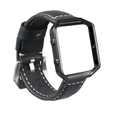 Genuine Leather Wrist Watch Band Strap + Metal Frame for Fitbit Blaze