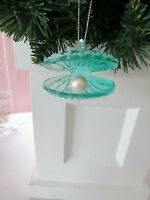 """2"""" Blue Glass Nautical Clam Shell with Pearl Christmas Ornament, New"""