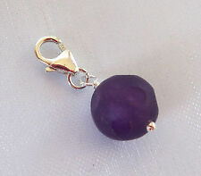 925 sterling silver Natural matt faceted AMETHYST gemstone clip on charm pendant