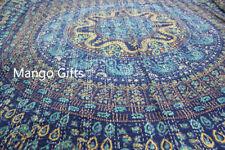 King Size Hand Block Print Kantha Quilt Indian Bed Linen 100%Cotton Ralli Blue