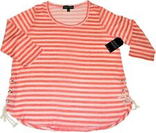 Almost Famous Women's Plus Coral Striped Top Size 2X