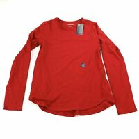 Lands End Kids Large Size 14 Shirt Red Long Sleeve Pullover 001F