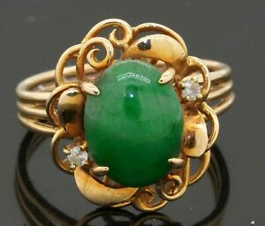14K gold beautiful .05CTW diamond/11.1 X 8.5mm jade flower cocktail ring size 7