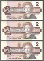Canada Two Dollar $2 (1986) - 3 CONSECUTIVE UNC BANK NOTES - PREFIX EGR
