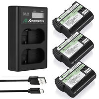 EN-EL15 Battery & Dual USB Charger For Nikon D7000 D7200 D7100 D800 D750 D600