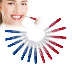 50X Interdental Brush Floss Sticks Tooth Floss Head Toothpick Cleaning Red+Blue