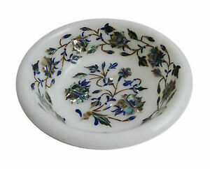 """5"""" White Marble Fruit Bowl Floral Inlay work Art Home kitchen Decor And Gift"""