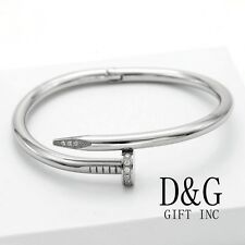 "New DG Gift Inc Men Stainless Steel 7"" Silver CZ Nail Bangle Bracelet Unisex Box"