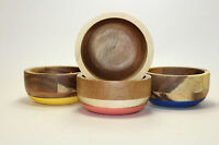 Lot of 4 Acacia Wood Mini Bowls with Color Bottoms