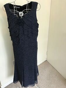 Dress Jacques Vert navy polka dot - Size 24 - WEDDING / EVENING / CHRISTMAS