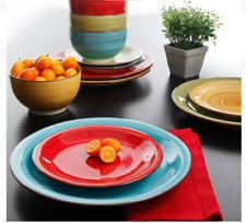 Modern Dinnerware Set 24 Piece 8 Bowls Dinner Dessert Plates Color Fiesta S