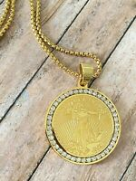 Men's Real Italy 14K Gold Filled Liberty Chain and Pendant Set LifeTime Warranty