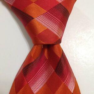"""STEVEN LAND Men's 100% Silk XL 65"""" Necktie Designer PLAID CHECKS Red/Orange GUC"""