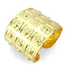 4297 BANGLE SIMULATED DIAMONDS MATT GOLD + GOLD WIDE CLEOPATRA CUFF WOMENS