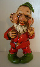 """Vintage Dwarf Gnome 4"""" Ornament Made in Japan 1960's Red w/ Pipe #2"""