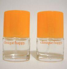 CLINIQUE HAPPY PERFUME PARFUM SPRAY LOT X 2 BOTTLE MINI TRAVEL .14 OZ WOMEN UB