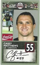 CASEY MATTHEWS OREGON DUCKS  2011 SENIOR BOWL CARD
