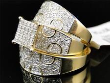 Mens Ladies Yellow Gold Diamond Engagement Bridal Wedding Ring Trio Set 1.1 Ct
