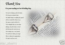 Thank You - FOR YOUR WEDDING READING ( laminated gift)