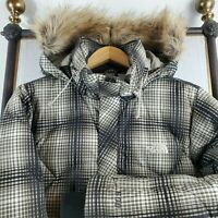 THE NORTH FACE 600 Size Medium Goose Down Womens Hooded Plaid Winter Coat Jacket
