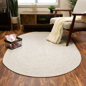 Farmhouse Braided Rug Reversible Washable Cotton Rug 2x3 to 8x10 Round Oval Rug