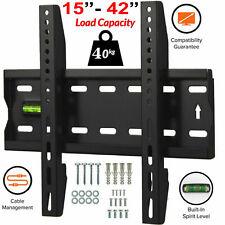"""Flat TV Wall Bracket Mount Slim For 15 20 25 30 35 40 42"""" Built-In Spirit Level"""