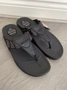 Sketchers Ladies Black Tone Up Flip Flops Sandals Size UK 7 - New With Tags