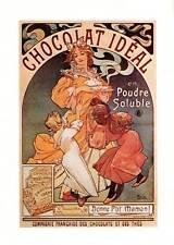 "Mucha 1976 Authentic Vintage Art Nouveau Print ""Chocolat ideale"" LIBRO Piastra"