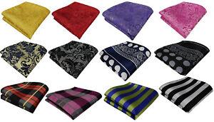 Hanky Paisley Polka Dot Plaid Check Silk Pocket Square Handkerchief Colour Block
