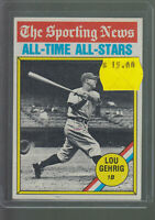 1976 TOPPS #341 LOU GEHRIG THE SPORTING NEWS ALL-TIME ALL-STARS BK$12.00 A