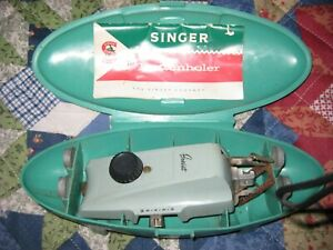 Singer Buttonholer Attachment Sewing 1960s Vintage Turquoise ClamShell W642N